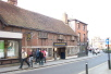 A fine timber framed building, currently used as a restaurant.